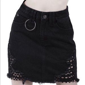 Killstar Rare Rawked Out Denim Skirt size small
